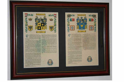 A4 double framed armorials