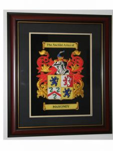 "Embroidered 17"" x 11"" framed Coat of Arms"