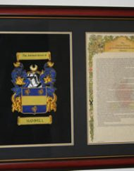 Hand Embroidered A4 coa with A4history framed